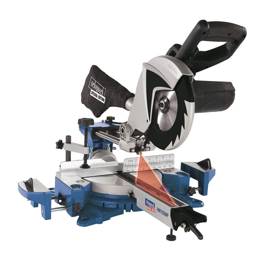 dvourychlostní multifunkční pokosová pila s potahem a laserem Scheppach HM 100 MP